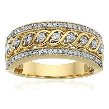 Женское модное желтое Золотое двухцветное ажурное кольцо с витой веревкой, кольцо с круглой огранкой, белое циркониевое юбилейное кольцо, п...