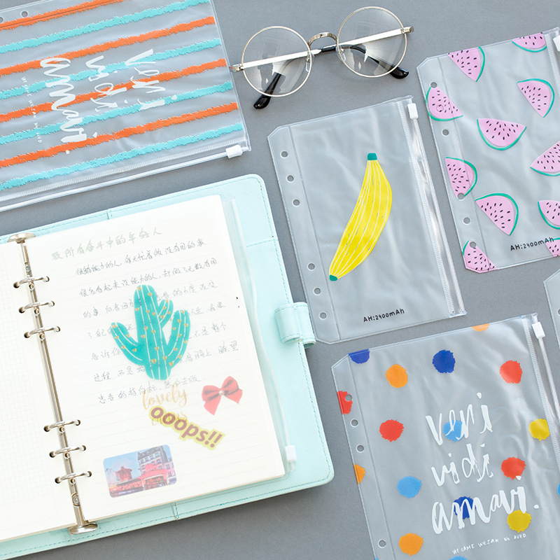 Fromthenon Colorful PVC Zipper Bag Dividers Planner Accessories Diary A5A6 Spiral Notebook File Storage Bag For Filofax Dokibook