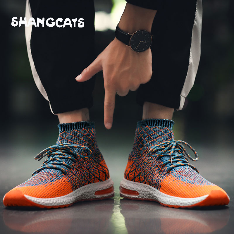 High top sneakers men shoes casual zapatos hombre orange winter shoes for men casual sneakers breathable new design brand shoes stylish men s casual shoes with breathable and metal design