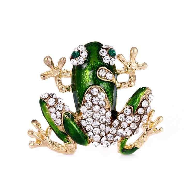 New Fashion Berlian Imitasi Hijau Katak Bros Unisex Lucu Hewan Bros Pin Wanita Pria Gaun Mantel Aksesoris Berkualitas Tinggi Ornamen