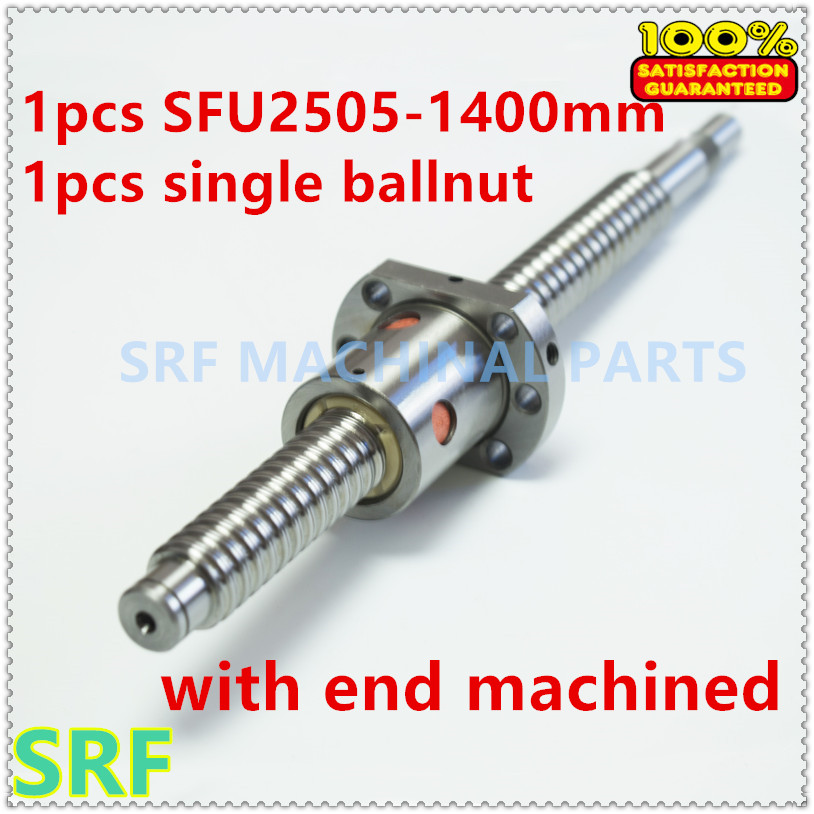 High quality 1pcs Dia:25mm Lead:5mm SFU2505 Rolled ballscrew L=1400mm with single ball nut with BK/BF20 end machined rolled ballscrew sfs1616 with single nut can be end machine