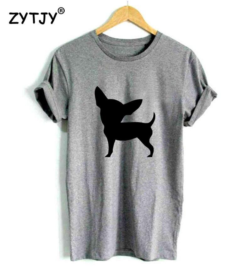 Camiseta con estampado de perro Chihuahua para mujer camiseta Casual de algodón Hipster divertida camiseta para chica camiseta superior Tumblr Drop Ship BA-172