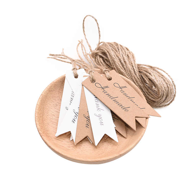 100pcs/lot Packaging Tags Handmade Hang Tag Kraft Paper Tags Thank You Gift Tag Labels for DIY Wedding Party Gift Or Candy Tags