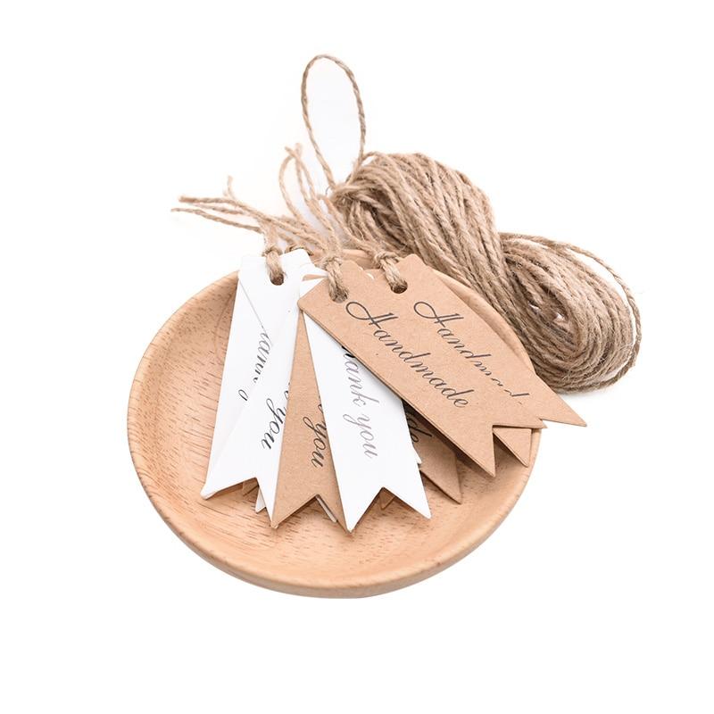 100 шт./лот бирки для упаковки ручной работы бирки из крафт-бумаги Благодарим Вас за подарок этикетки для DIY свадебной вечеринки подарок или б...