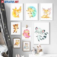 Watercolor Rabbit Fox Deer Bear Koala Squirrel Nordic Posters And Prints Wall Art Canvas Painting Pictures Kids Room Decor