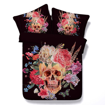 New Arrival Skull Series Kids/Adult Bedding Sets 3/4PC Black/White Duvet Cover Boys/Girls Bedroom Home Textiles Bedding Package