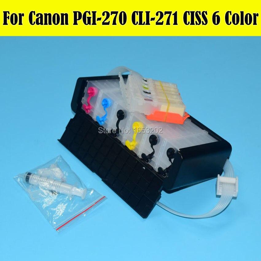Système d'alimentation en encre en vrac 6 couleurs amérique du nord Ciss pour Canon PGI-270 CLI-271 271GY Ciss pour Canon PIMXA MG7720 imprimante