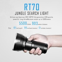 SUNSAVER IMALENT RT70 CREE XHP70 Intelligent Rechargeable Flashlight Torch Jungle Search Light 5500 Lumens 903 Meters Distance
