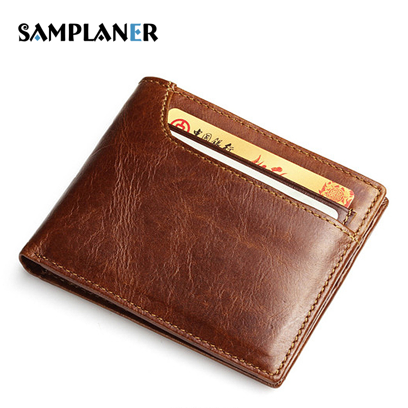 Samplaner Vintage Genuine Leather Short Wallets for Men Slim Wallet Small Thin Purse Oil Wax Leather Male Bag Credit Card Pocket genuine leather thin leather wallets for