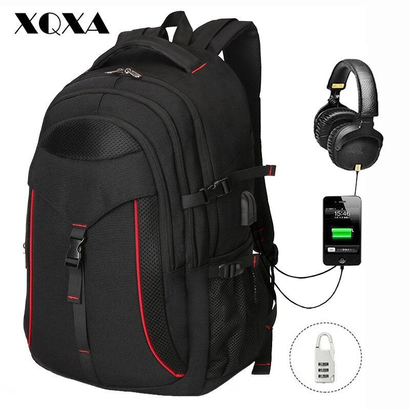 XQXA sac à dos pour ordinateur portable grand sac à dos d'ordinateur pour 15.6-17.3 pouces ordinateur portable USB hydrofuge école voyage sac à dos Anti-vol