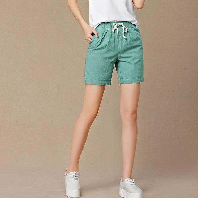 Alta Calidad Nueva Summer shorts mujeres de cintura alta Moda sólido Plisado feminino corto para mujeres del color del caramelo de algodón pantalones cortos sueltos