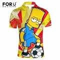 FORUDESIGNS 3D Симпсон Pattern Polo Shirt for Man Рубашки Slim Fit Лето Дышащий С Коротким рукавом Поло Рубашка Camisa Masculina
