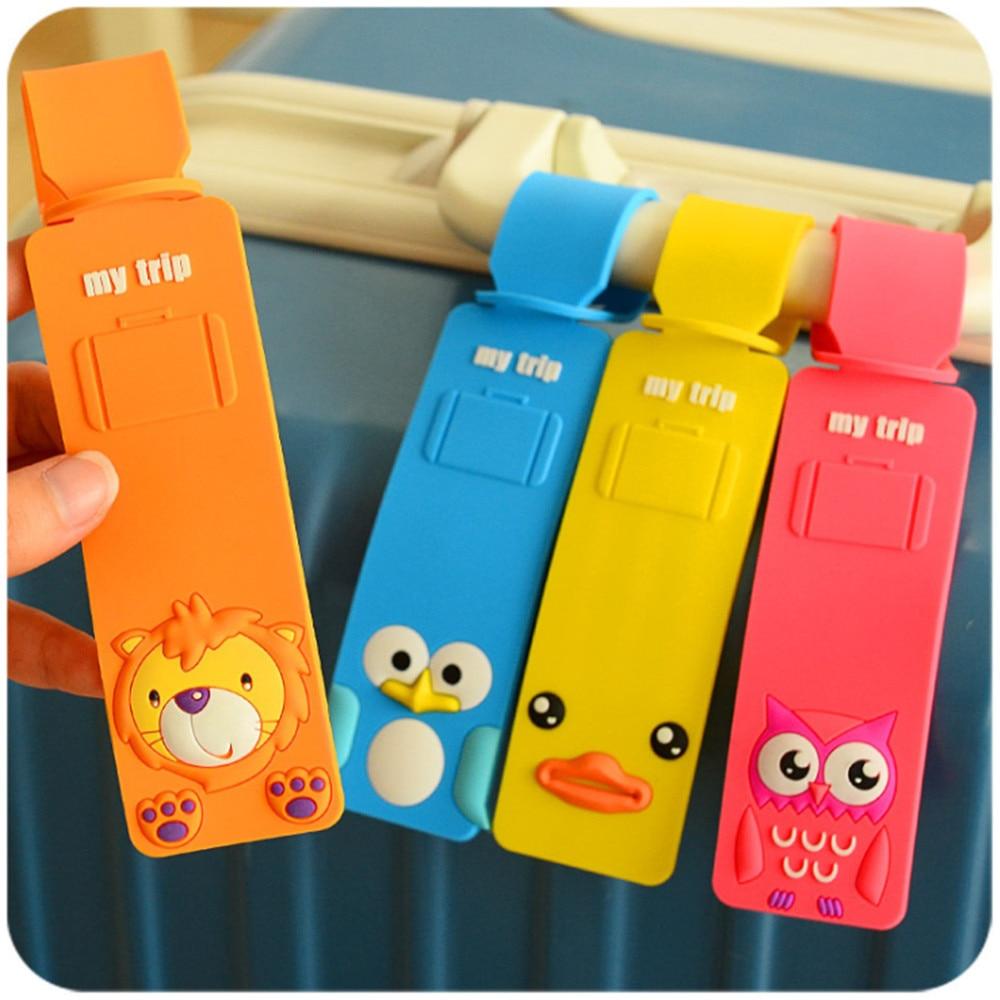 Luggage Suitcase Tag Cartoon Cat Duck Silica Gel ID Address Holder Baggage Label