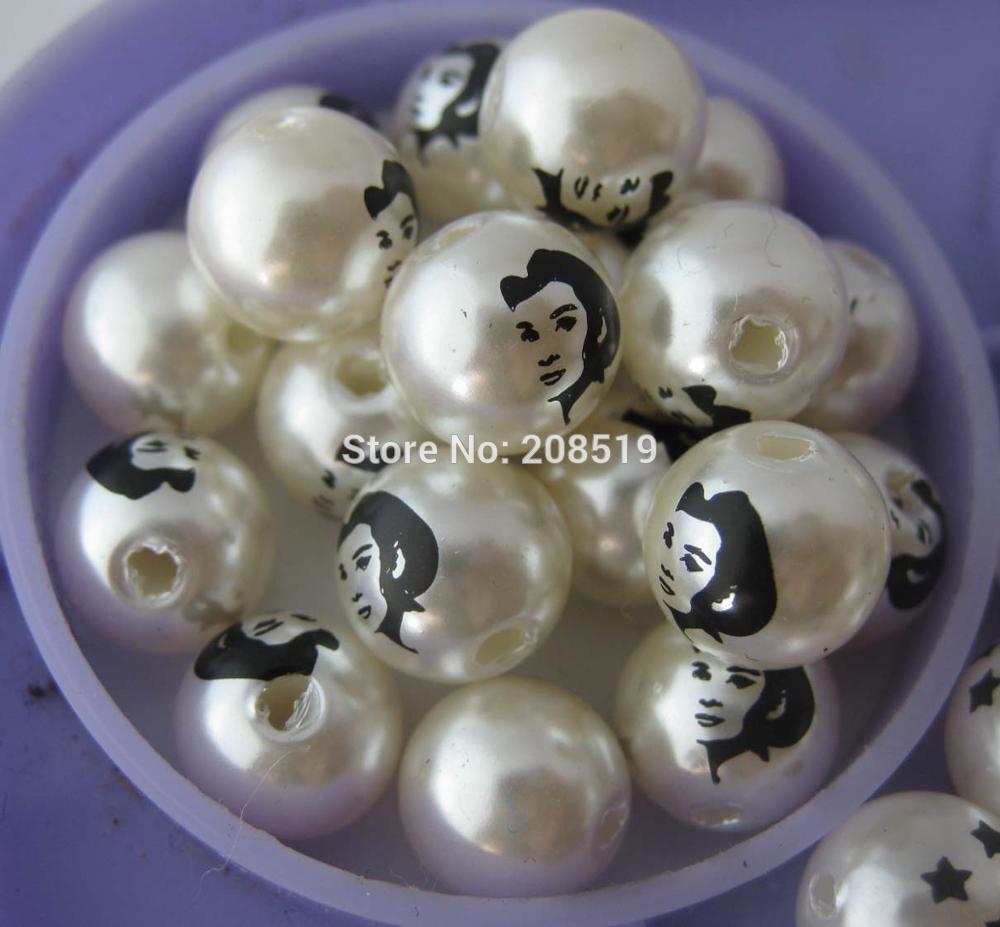 PNB0007 печатные жемчужные бусины для одежды 100 шт 10 мм кремовые пластиковые бусины со средним Отверстием Аксессуары для одежды