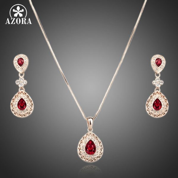 AZORA Palace Attractive Rose Gold Color Carved Red Crystal Drop Necklace and Earrings Jewelry Sets TG0073AZORA Palace Attractive Rose Gold Color Carved Red Crystal Drop Necklace and Earrings Jewelry Sets TG0073