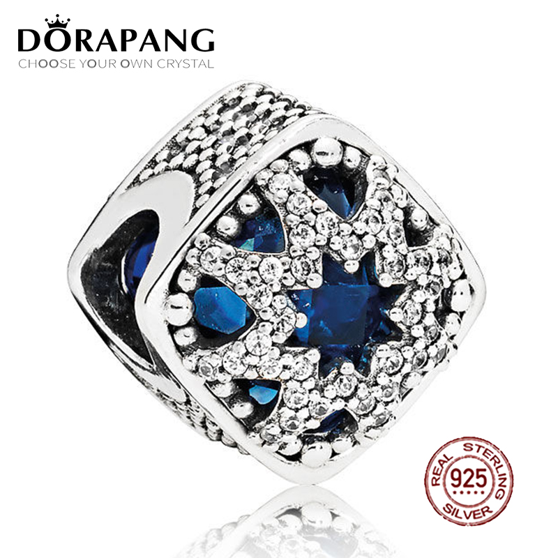 DORAPANG 100% 925 Sterling Silver Glacial Beauty Charm S Blue Crystals & Clear CZ Bead F ...