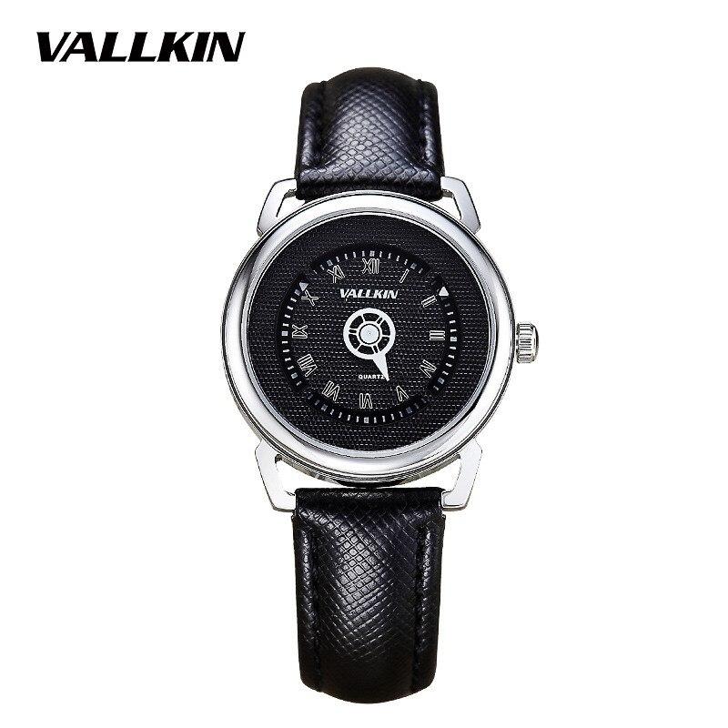 цена VALLKIN Fashion Brand Luxry Women black Watch 2017 New Female Casual Fashion Leather Waterproof Case Wristwatches montre femme онлайн в 2017 году