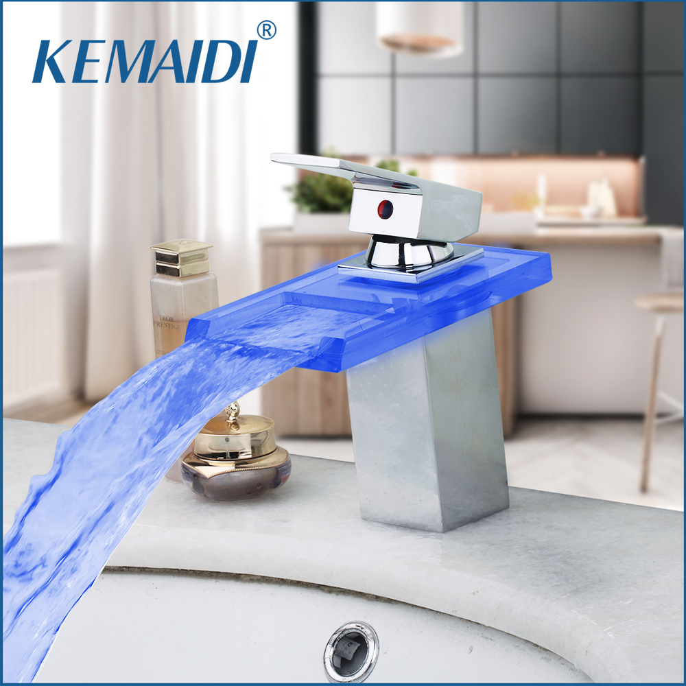 KEMAIDI LED 3 Color Bathroom Basin Sink Waterfall Chrome Mixer Tap Bathroom Faucet Led Faucet torneira Mixer Bathroom Faucets kemaidi solid brass chrome taps bathroom faucet deck mount basin mixer tap banheira torneira led waterfall mixer tub faucets