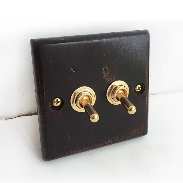 Retro  Wood Wall  Switch  Handmade Panel  Two Control  Two  Way   6A  110V- 250V 118 style elegant white light switch four control two way 10a 110v 250v