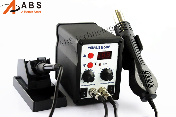 Better than Atten 8586 220V 700W YOUYUE 8586 2 in 1 SMD Soldering Stations Rework Station Solder iron+ Hot Air Gun + 3 Nozzles fashion acrylic diamond protective back case for ipod touch 4 silver