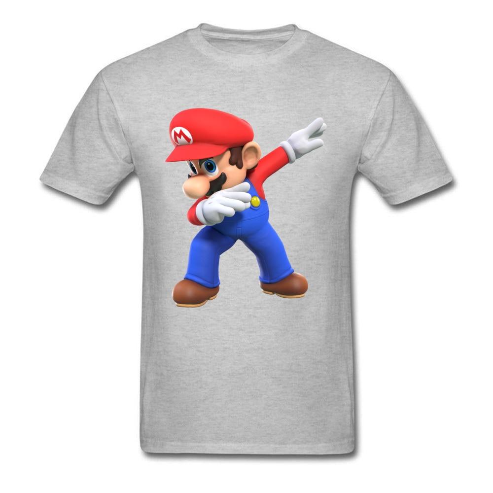 2018 Men T Shirts Round Neck Short Sleeve 100% Cotton super mario bros825yy T Shirt Printed On Top T-shirts Wholesale super mario bros825yy grey