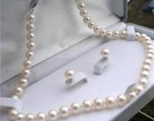 Stunning 8-9mm White Akoya Pearl Neckalce Earring 18″A+S+A+S+A+ No box