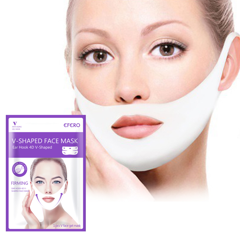 4D Double V Shaped Face Mask Lifting Slimming Thin Face Slim Mask Gel Mask Face Lift Tools Hanging Ear Women Face Mask Treatment