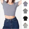 2016 Nueva Venta de Algodón Dobby Mitad Apliques de Rayas O-cuello Unicornio Tumblr Camisetas Aliexpress Explosión Femenina Pantalones Cortos de la Camiseta