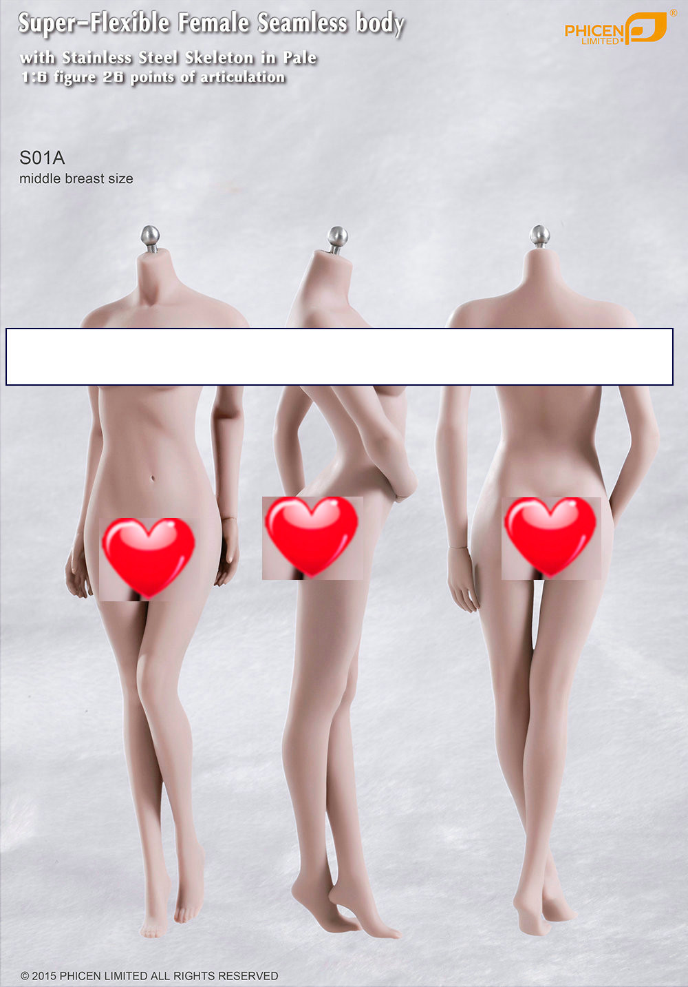 phicen male action figure female 1 6 Scale Super Flexible Seamless MID bust body w Steel