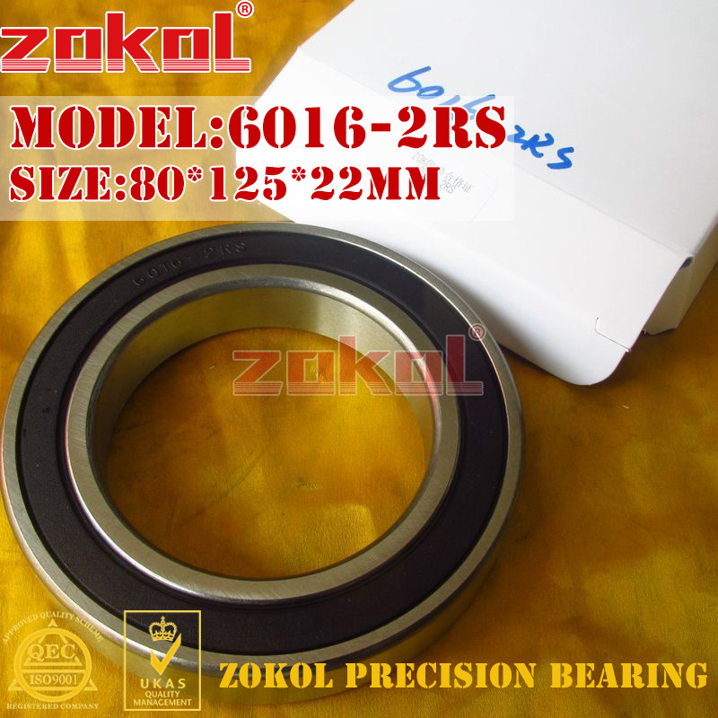 ZOKOL 6016RS bearing 6016 2RS RS 180116 Deep Groove ball bearing 80*125*22mm zokol bearing 6017 2rs 180117 deep groove ball bearing 85 130 22mm