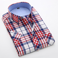 Fashion Short Sleeve Men Plaid Shirt Cotton Boys Male Slim Fit Casual Shirt Beach Holiday British Summer Style Plus Size 4XL