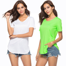 European fashion personality summer hot explosion models solid color sexy women short-sleeved T-shirt