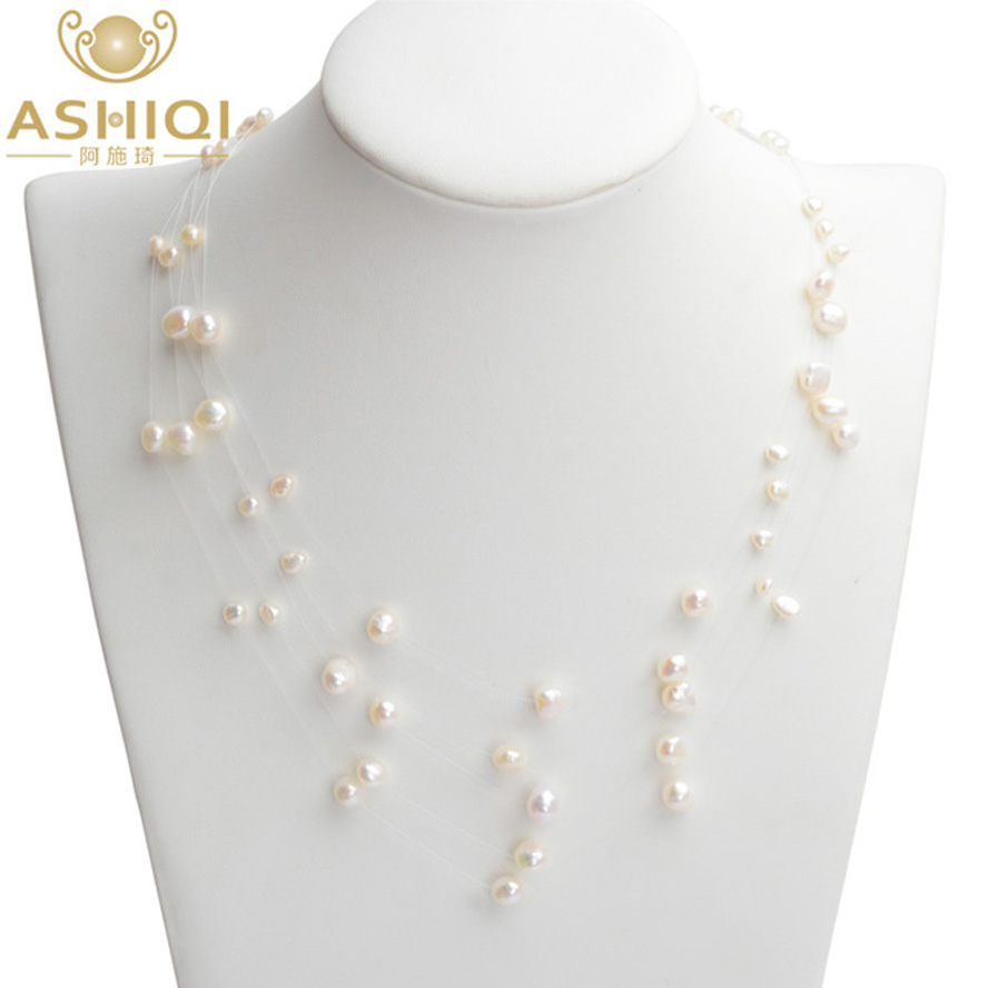ASHIQI Natural Freshwater Pearl Necklace Handmade Baroque Pearl 5-Row 4-8mm Bohemia Chokers Necklaces For Women Fashion