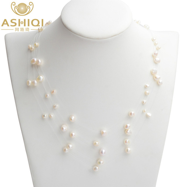 ASHIQI collier de perles d'eau douce naturelles fait à la main perle Baroque 5 rangées 4-8mm bohême chokers colliers pour femmes mode