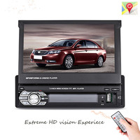 9601G 1 Din Car Video MP5 Player Retractable 7'' HD Touch Screen Bluetooth FM Radio European GPS Map USB Auto Multimedia