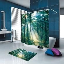 купить New Arrivals Shower Curtain Nordic Nature forest theme Scenic Pattern Shower Curtain Waterproof Bathroom Fabric Home decor по цене 1358.9 рублей