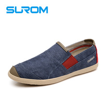SUROM Men's Canvas Shoes Light Breathable Slip On fashion casual men's boat shoes 2017 spring new men loafers