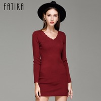 2016 Fashion Women S Dress Autumn Winter Long Sweater Dresses Black V Neck Long Sleeve Knitted