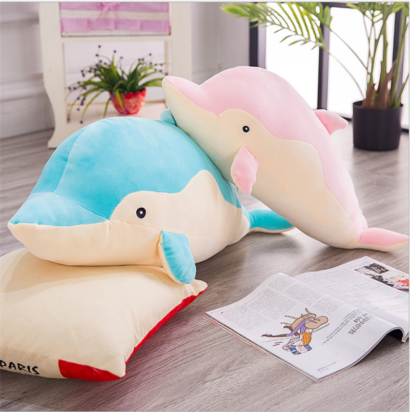 1PC 50 70cm New Cute Cartoon Soft Dolphin Plush Toy Stuffed Soft Pillow Christmas Gift for Kids Valentine Present in Bedding Pillows from Home Garden