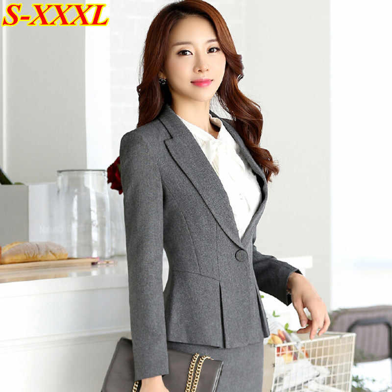 74679fba3fd20 ... High quality new fashion women suits slim work wear office ladies long  sleeve blazer skirt suits ...