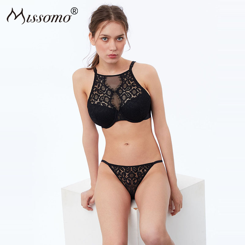 Missomo Low Waist Romantic Lash Lace Flower Embroidery Perspective Black Thong Panties Female Lingerie Underwear Women Sexy in women 39 s panties from Underwear amp Sleepwears