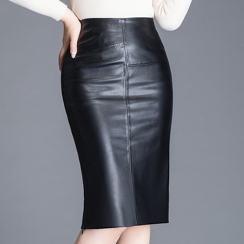 Women Sheepskin Skirt Wrap Hip Leather Over Knee Genuine Leather Skirt Female High Waist Split Package Hip Skirt Plus Size W532