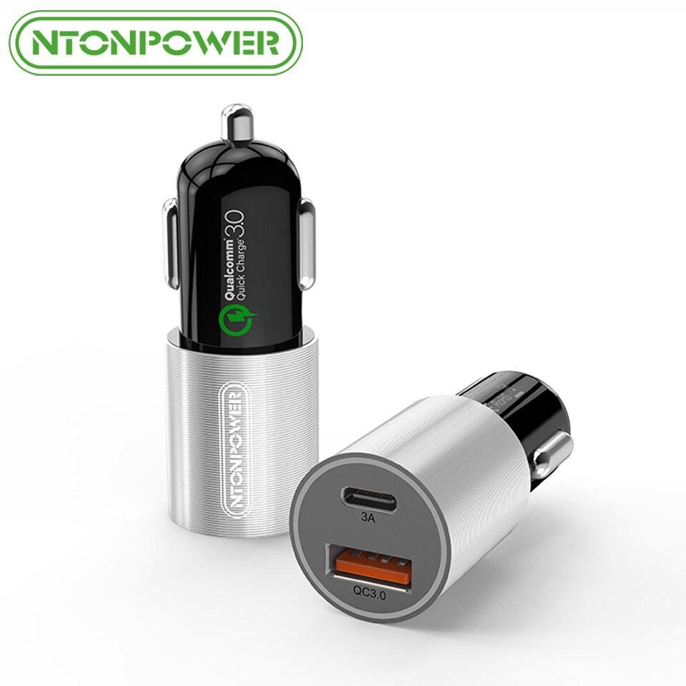 NTONPOWER 2 Port USB Chargeur De Voiture Qualcomm Charge Rapide 3.0 QC 2.0 Compatible et Type C 3A Rapide De Charge pour smart Mobile Téléphone