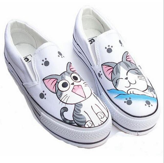 Pintados a mano, zapatos de lona de las mujeres bajas para ayudar perezoso gato grande cara pintada zapatos de lona estudiantes zapatos casuales estudiantiles