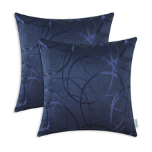2PCS CaliTime Cushion Cover Pillows Shell Jacquard Circle Striped Pillow Shelf Home Sofa Decoration