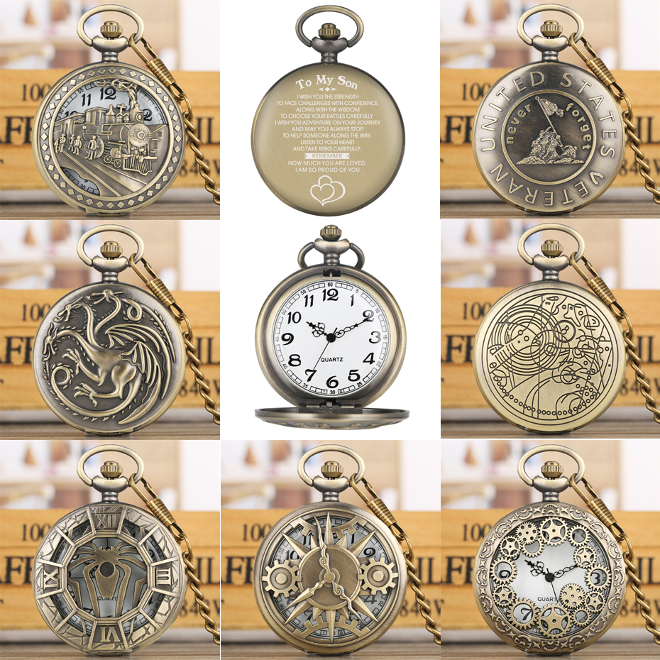 Hot Selling Vintage Bronze Quartz Pocket Watches To My Son Special Words Design Back Cover Design Punk Pocket Clock Gifts Male