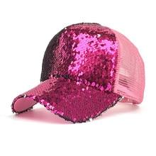716656c8b6c Unisex Men Women Fashion Adjustable Breathable Mesh Sequined Shiny Baseball  Caps Summer Sun Glitter Bun Snapback Boys Girls Hat