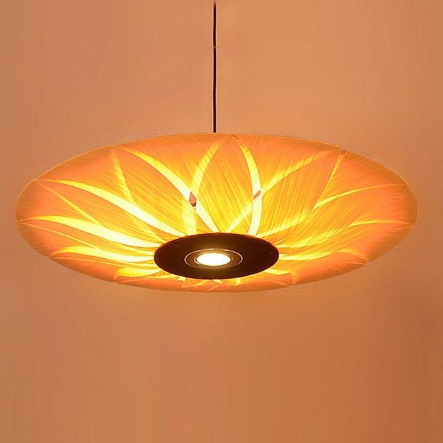 Southeast Asian Wood Veneer Led Pendant Lamps Restaurant Living Room Bedroom Hotels Bamboo Lights Za62 Zl121