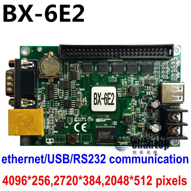 цена на BX-6E2 network RJ45/USB/RS232 port Ethernet 4096*256pixles single/double/full color super large lintel display led control card