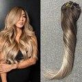 Полный Блеск Реми Клип в Наращивание Волос Человеческих Волос Ombre Выметание девы Волос Расширения Цвет #4 Блондинка Золы #18 На Складе